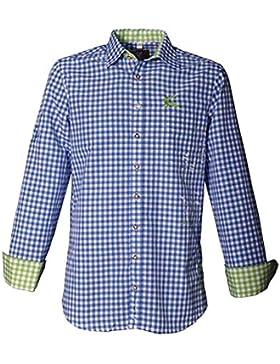 Trachtenhemd Gerald blau/grün Karo Langarm OS Trachten