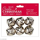 Papermania Extra Large Jingle Bells 6Pcs-Silver