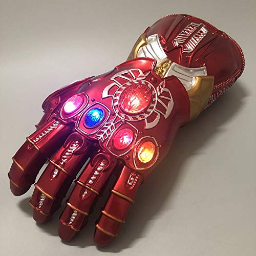 K-Y YK Iron Man Glowing Infinite Gloves Avengers 4 Cosplay Fans Props Halloween Costume Heroes Play Children's Gloves Toy (Adult 34cm)