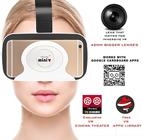 Irusu Mini VR Virtual Reality 3D Glasses with Bigger 42mm HD Optical Resin VR Glasses for Better FOV -for All Android and iOS Mobiles