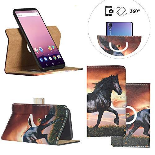 Handy Schutz Hülle | für OUKITEL U7 Max 3G | 360° Drehbare Funcktion | PU Leder | - 360° Nano XL Pferd Motiv