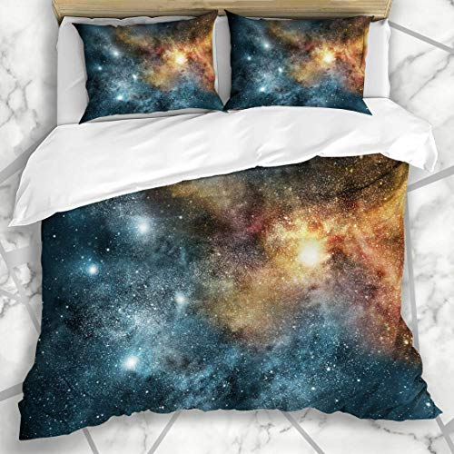 Soefipok Bettwäschesets Blue Space Universe Gefüllte Sterne Nebula Galaxy Cassiopeia Natur Gelb Schwarzer Himmel Explosion Orbit Mikrofaser Bettwäsche mit 2 Kissenbezügen