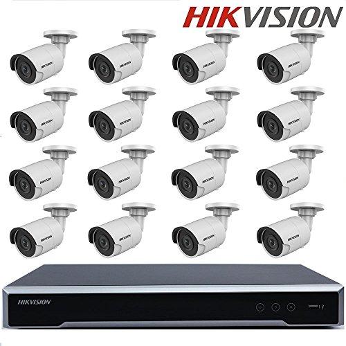Hikvision CCTV System DS-7616NI-K2/16P H.265 NVR Embedded Plug & Play 4K NVR + Hikvision 8MP IP Kamera DS-2CD2085FWD-I Netzwerk Bullet Kamera + Seagate 4TB HDD (16 Kanal + 16 Kamera) -