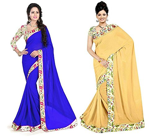 Aashi Saree Exclusive Combo Of Plain Chiffon Lacy Border Sarees (Blue & Beige)