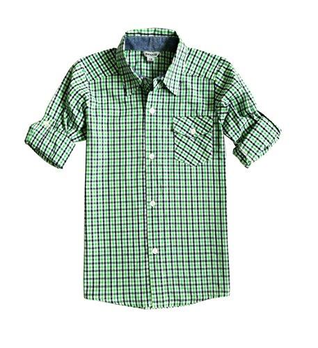Bienzoe Jungen Baumwolle Plaid Aufgerollt Hülse Knopf Unten Hemd Grün Größe 3/4 (Grün Unten)