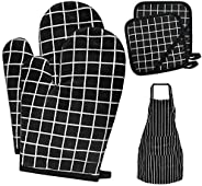 Oven Mitts and Pot Holders, Heat Resistant Kitchen Gloves with Aprons for Women and Men Soft Cotton Lining and