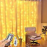 Vivibel 【 3M*3M 】 LED Lichtervorhang, 300LEDs USB Fenster Vorhang mit 8 Modi Fernbedienung IP65 Wasserdicht LED Lichterketten Vorhang für Hochzeit Weihnachten Zimmer, Warmweiß