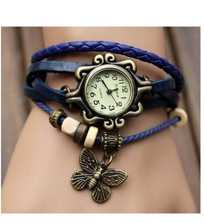 WAWO Fashion Accessories Trial Order New Quartz Fashion Weave Wrap Around Leather Bracelet Lady Woman Wrist Watch Blue