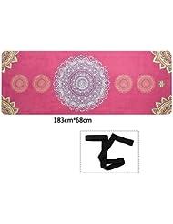 Antideslizante Yoga Mat --- 4mm De Espesor Caucho Natural Alta Temperatura Esteras De Yoga Antideslizante Profesional Impresión De Esteras De Fitness/Tamaño: los 183cmX68cm --- El caucho natural estera de yoga, para el ejer ( Color : B )