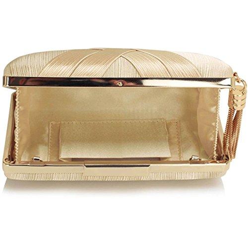 Xardi London clutch rigida da donna, compatta, in raso, misura media, adatta per spose, balli, serate. Beige