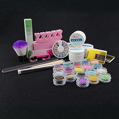 Elite99 39pcs Kit de Manucure et Nail Art ultra complet Constructeur UV Gel Acrylique Glitter Poudre Perle Nail Tips Extension Decoration Kit