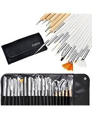 Cadrim - Lot de 20 outils de Nail Art avec brosses, pinceaux, stylos et outils à pois et à dessin - Avec poche de rangement enroulable - Outils professionnels