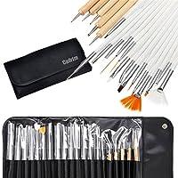 Cadrim 20pcs Nail Art Design Brush Set Pen Painting Polish Brush Dotting Drawing Tool Set with Roll-Up Pouch-Professional Nail Art Supplies