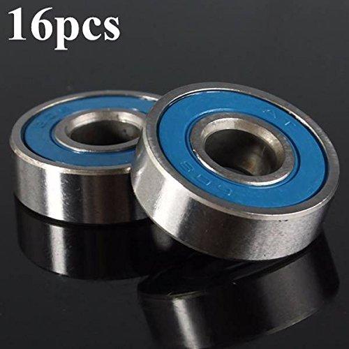 Mark8shop 16 pcs Vitesse de Rotation Skateboard Skate Longboard ABEC-9 608rs Haute qualité en Acier Roulements Bleu