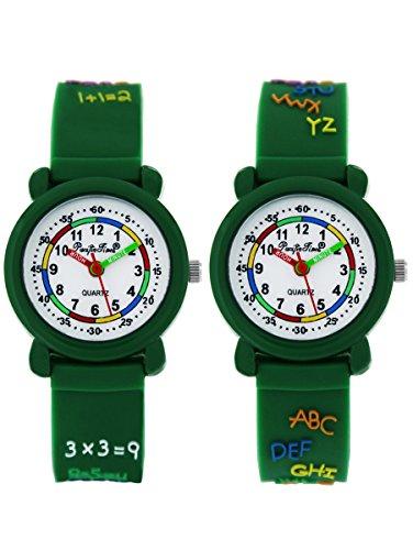 Pacific Time Kinderuhr Lernuhr 2 Stück Analog Quarz mit Silikonarmband 863742