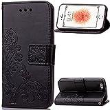 SDB Klappetui für iPhone 5G / 5S / 5 / SE / 5C (PU-Leder, mit Magnetverschluss, mit Schlaufe), Medium, schwarz