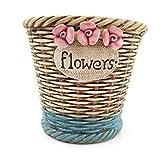 Better-way Country - Macetero de cerámica rústico con forma de orquídea, diseño contemporáneo de flores (4,21 pulgadas, floral)