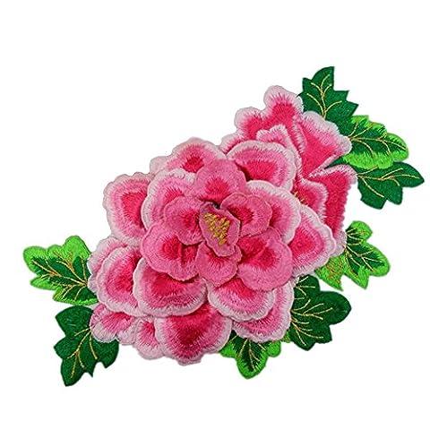 3D Pfingstrose Rose Blume bestickt Patches Nähen Eisen auf Applikationen