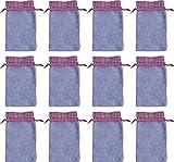 12 Filz-Säckchen, hellgrau mit rot-weiß-karierter Bordüre, 20 x 12 cm - aus weichem Fleece, Advent
