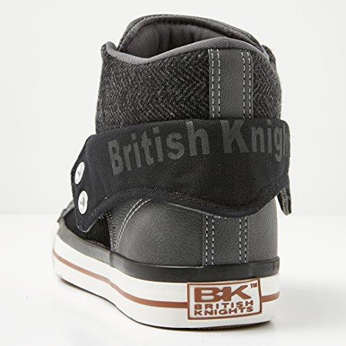 British Knights Roco, Sneaker a Collo Alto Uomo NERO/GRIGIO SCURO/COGNAC