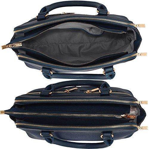 LeahWard® Damen Tragetaschen Berühmtheit Stil nett Handtaschen 3 Fächer Groß Tasche 250 Marine A