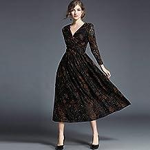 Bbh.Lee autunno e inverno donna abiti–pizzo abiti–stampato–V Collar Dress–party–wedding–una gonna, nero, L