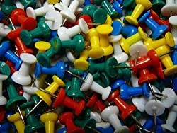 100 Drawing Colourful Plastic Push Pins Stationery for Cork Notice Board