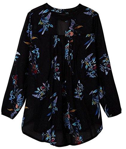 YOGLY Femme Chemisier Col V dimpession Fleur Manches Longues Mode t-Shirt Casual Chic Top Noir