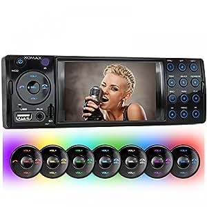 XOMAX xm-vrsu413bt Autoradio/Moniceiver sans cd-drive + Port USB (jusqu'à 32GB.) et micro SD (jusqu'à 32Go.) pour MP4, MP3, WMA, AVI + 7LED couleurs bleu, rouge, jaune, violet, rose, vert, blanc, turquoise + fonction mains libres Bluetooth + Entrée auxiliaire + Dimensions standard DIN simple (1DIN) + Comprend Garniture, cage et télécommande