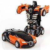 leegoal Transform Robot Car Transformation inerzia Auto Mini Auto deformazione Robot Giocattolo Robot Veicolo per Bambini Orange