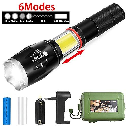 SunTop Linterna LED Tactica con base magnética, 6 modos, 1000 lúmenes, super brillante, con zoom, resistente al agua , linterna táctica de mano con iluminación oculta COB