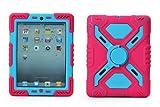 Pepkoo iPad 2/3/4case Plastic Kid Proof Extreme Duty Dual protettiva della copertura con cavalletto e sticker per iPad 4/3/2–Rainproof Sandproof antipolvere antiurto (rosa/blu)