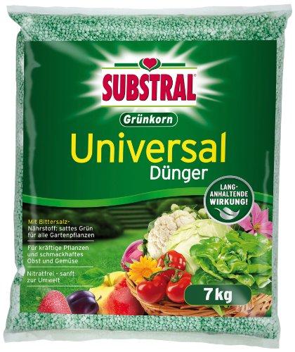 Substral Grünkorn Universaldünger, Hochwertiger, nitratfreier Gartendünger für Blumen,\nSträucher, Koniferen, Gemüse, Obst und Rasen mit langanhaltender Wirkung - 7 kg Sack
