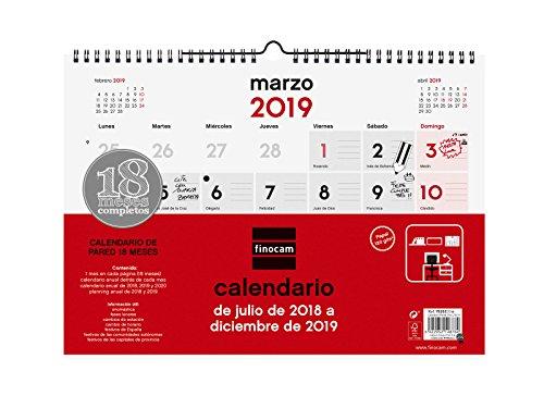 Finocam Calendario pared 18 meses 2018-2019 español
