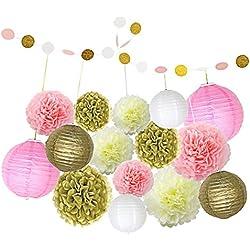 Set 16piezas de decoración boda colores rosa, blanco, marfil y dorado