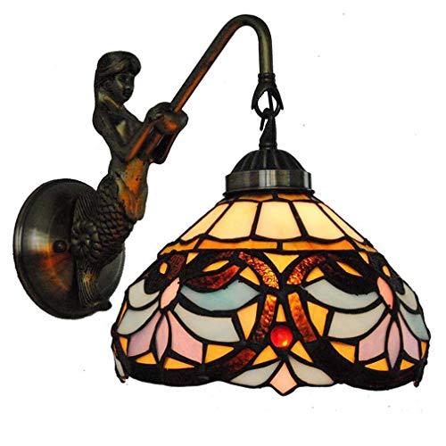 Arme Harz (Retro Meerjungfrau Tiffany Stil Wandleuchten Wandlampen Glasmalerei Schatten Durchmesser 8 Zoll Harz Lampe Arm für Wohnzimmer Schlafzimmer Halterung Leuchte)