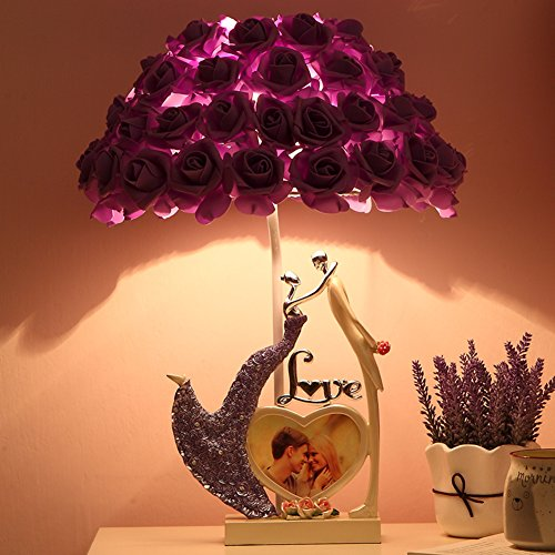 And Stile Home Arts Crafts (Romantisch Bett tischleuchten,Dekoration Nachttisch-lampe Hochzeit-stil Tischleuchten für wohnzimmer Praktischen Kreative Bett und tischleuchten Arts and crafts-Lila)