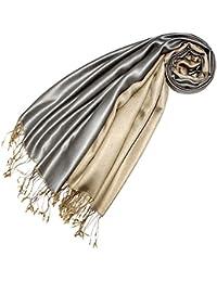 LORENZO CANA Luxus Pashmina Seidentuch Seide Wendeschal Schaltuch 70 x 190 cm zweifarbig Seidenschal Schal Silber Beige 78422