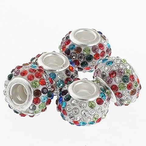 Rubyca gros trous 15mm cristal Charm perle pour bracelet charms européens, Multi Color, 10 pièces