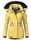 Navahoo Damen Winter-Jacke Winter-Mantel Steppmantel Schätzchen (Vegan Hergestellt) Gelb Gr. L