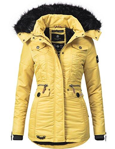 Navahoo Damen Winter-Jacke Winter-Mantel Steppmantel Schätzchen (vegan hergestellt) Gelb Gr. XS