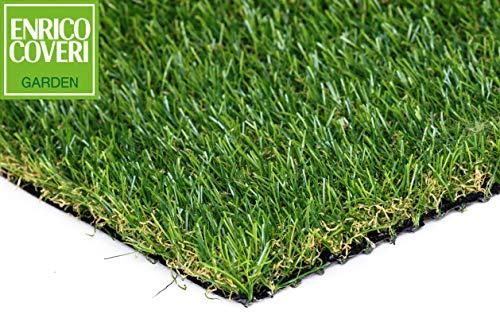 Enrico Coveri Garden Prato Sintetico Folto, Manto Di Erba Finta Con Altezza 8mm / 20mm / 30mm, Perfetta Per Arredo Giardino, Interni ed Esterni (20mm 2x5mt 10mq)