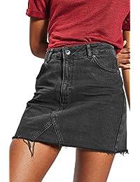 Sevozimda La Mujer Jean Faldas De Cintura Alta Falda Bodycon Slim Denim  Short Tassel 656ccdcae53a