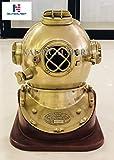 NAUTICAL MART Nautisches Mart Messing Antik Vintage Tauchen Taucher Helm US Navy Mark V Helm mit...