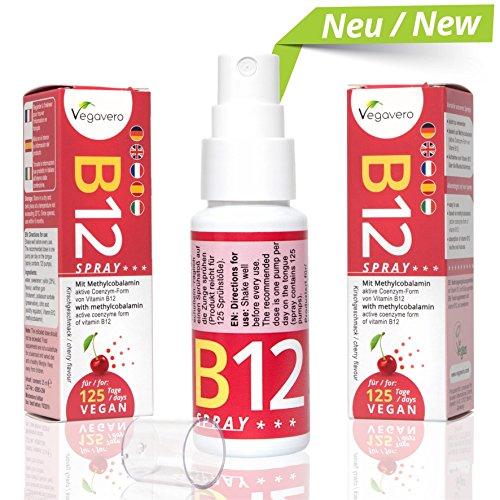 Vitamin B12 Spray | NEU: Sprühen statt Tabletten schlucken | Kirschgeschmack | nur 1 mal sprühen pro Tag | 250 µg Methylcobalamin pro Sprühstoß | Hohe Bioverfügbarkeit | 4 Monatsvorrat | Vegan | Vegavero: from Nature - with Passion - for You! B12 Vitamine