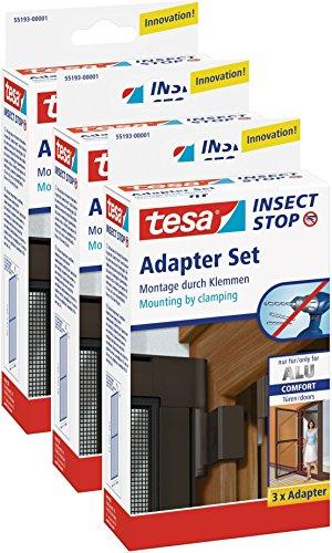 Preisvergleich Produktbild 3 Stück tesa Fliegengitter Adapter für tesa Alurahmen für Türen braun