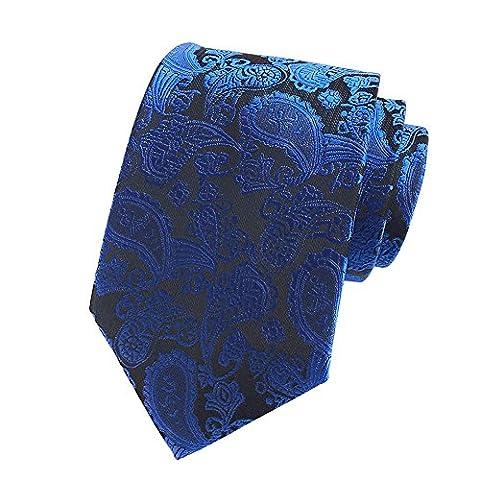 Pisces.goods New Royal Blue Paisley JACQUARD WOVEN Men's Tie Necktie by Pisces.goods