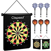 CLISPEED Magnetic Dart Board Game Set Reversible Rollup Dartboard with 6 Safe Darts for Indoor Outdoor Fun