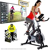 Sportstech Indoor Speedbike SX200 Sportgerät für Zuhause | Deutsche Qualitätsmarke + Video Events & Multiplayer APP | Hometrainer für Fitness | Heimtrainer-Fahrrad mit 22KG Schwungrad | inkl. eBook