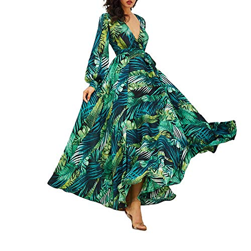 YuJian12 Langarm Kleid grün tropischen Strand Vintage Maxi Kleider Boho lässig V-Ausschnitt Gürtel schnüren Tunika drapiert Plus Size Dress-in Kleider von Frauen Grün-Dicker Chiffon - Size Plus Maxi-kleid Chiffon